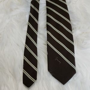 Retro GIVENCHY  Brown & Green Striped Tie